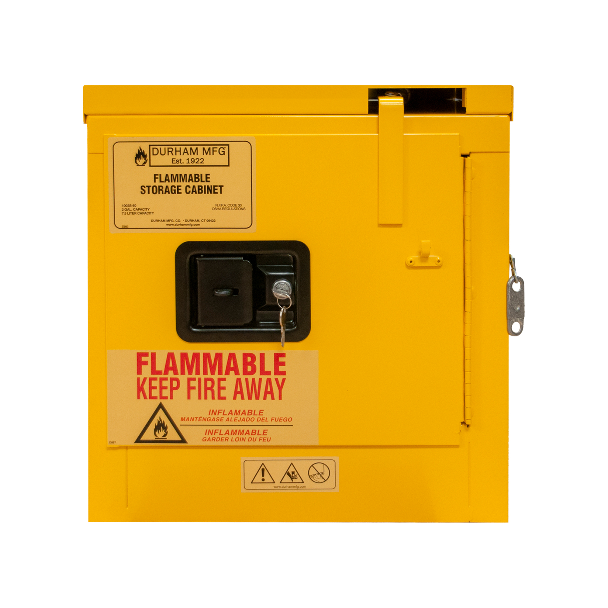 Flammable Storage 2 Gallon Self Close Yellow Durham