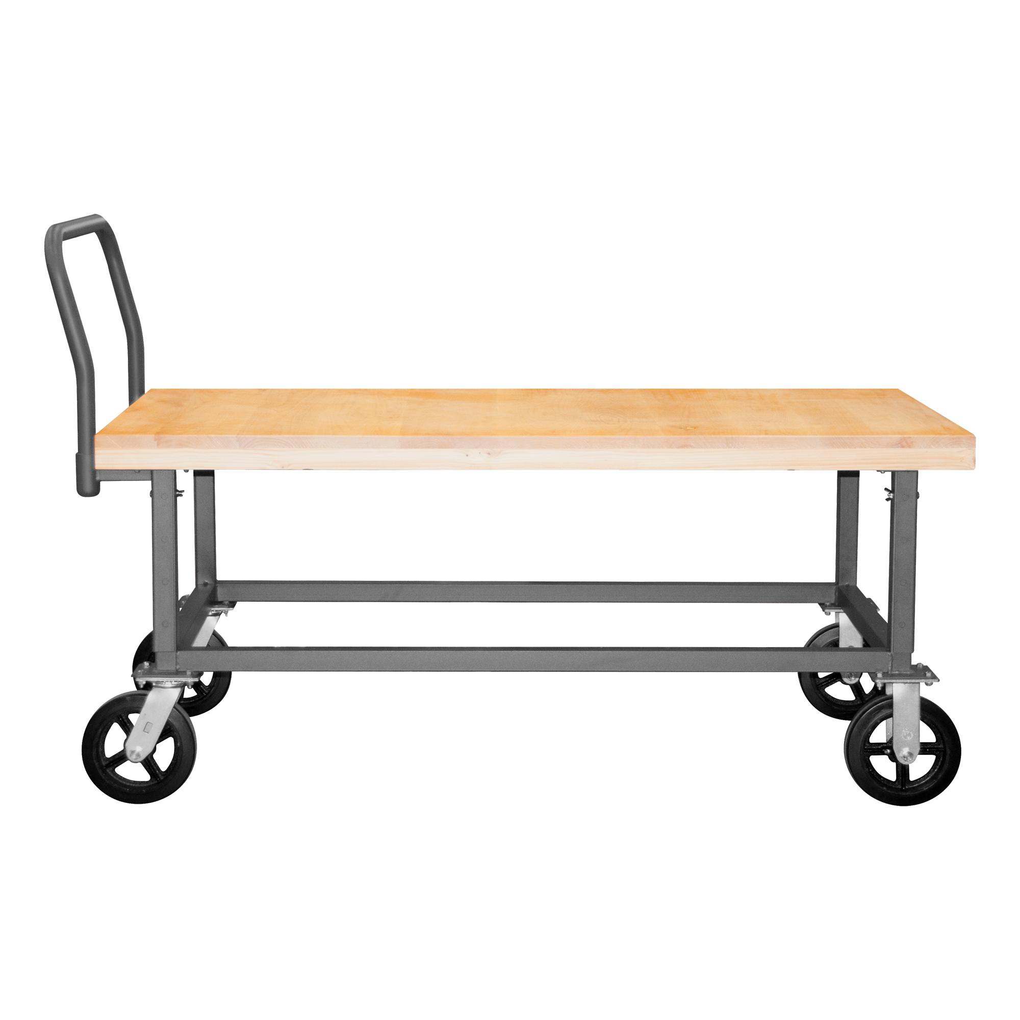 Platform Truck Adjustable Height Wood Deck 1800 Lbs Capacity 24 X 48 Durham Manufacturing